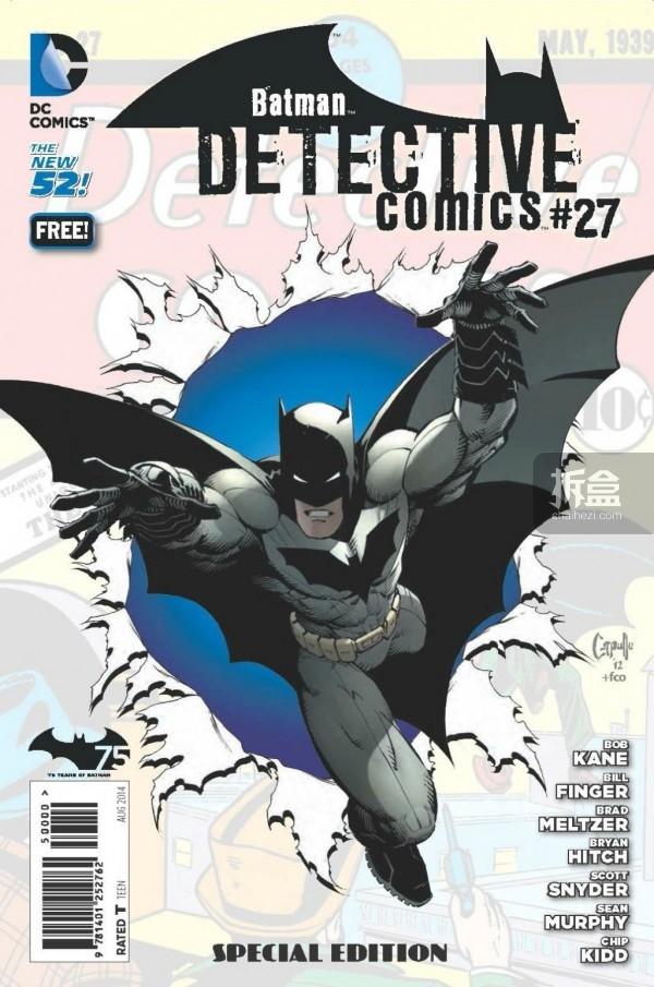 DC公布DETECTIVE COMICS #27免费纪念刊封面,首次把Batman合创者Bill Finger的名字署到封面上。