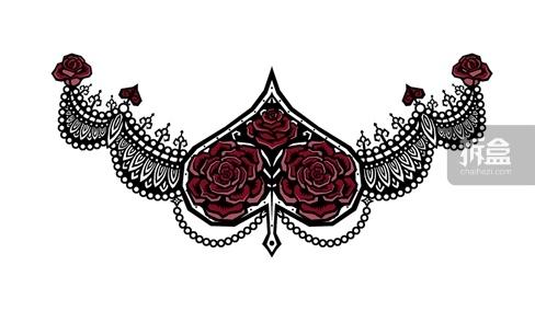 Ada(艾达)胸口哥特风格的桃心纹身