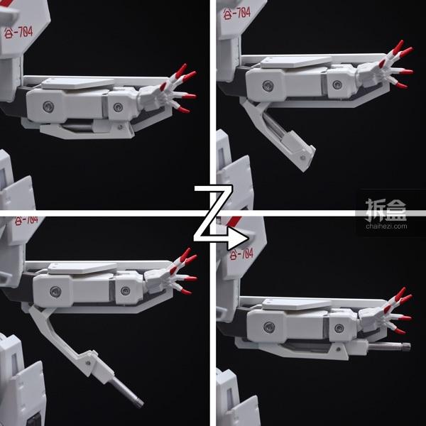 藏在左手臂下上的「收纳型人工颖刺」无须替换配件即可如图般拉出。