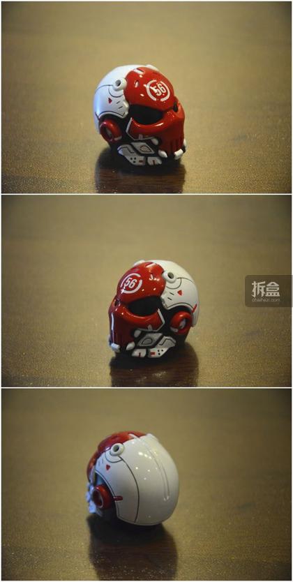 ▲头盔,算是这个产品的一个特色,1:6等比例还原了Machine 56的头盔产品,细节涂装都不错,但是这款头盔不是我最爱的,还是期待宣传卡片里面那个骷髅面具那一款。另外要说一下,这个头盔里面没有头雕的,这个头盔就是这款的头雕。