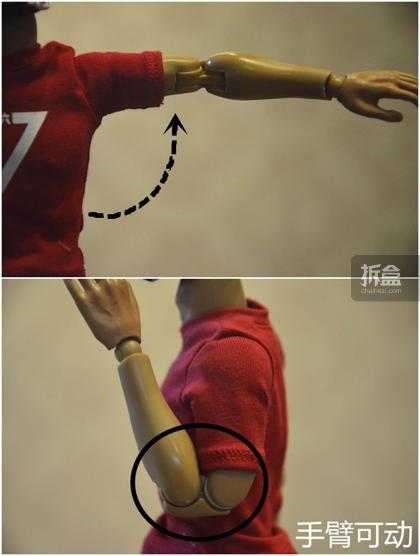 ▲手臂可动也很到位。肘部双关节,可动幅度大。