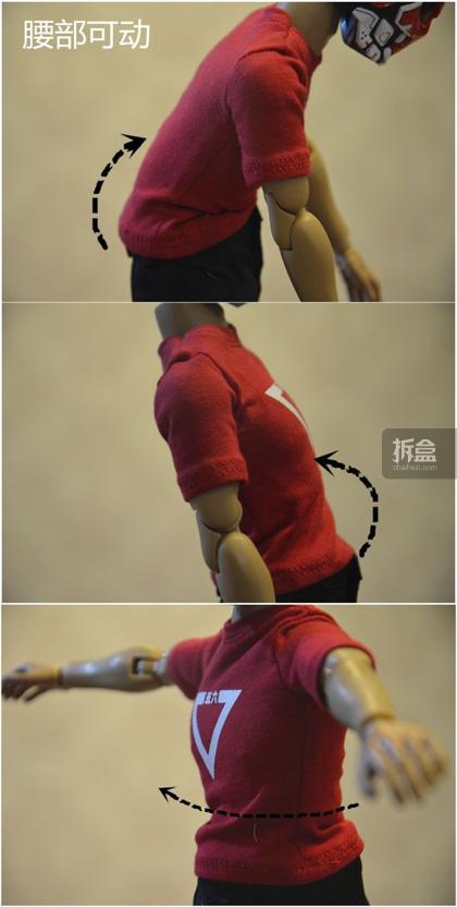 ▲腰部可动,左右旋转都不错,前后幅度也可以。
