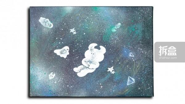 UAMOU 帆布画作 宇宙の海の底で
