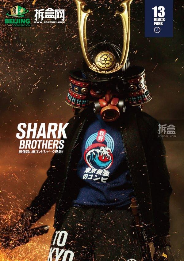 "Black 13 Park 将有鲨鱼兄弟、暗黑实验室系列作品展出,值得一提的是,BJCC上将有John特别设计的""鲨鱼兄弟老炮儿版""展出。"