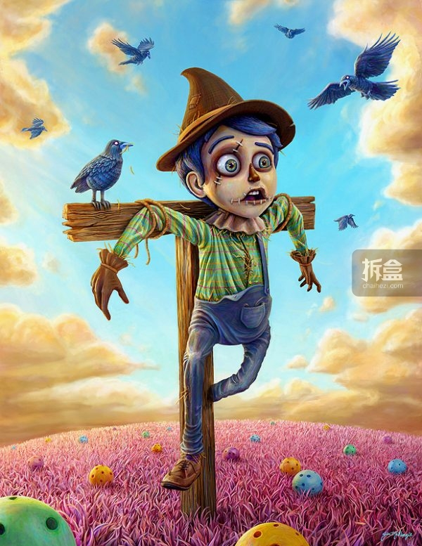 """Scarecrow Digital Painting Framed  稻草人数字油画 带画框 edition of 5 signed and numbered 限量5个,带签名和编号 57"""" x 46"""" framed  $1,250美元"""