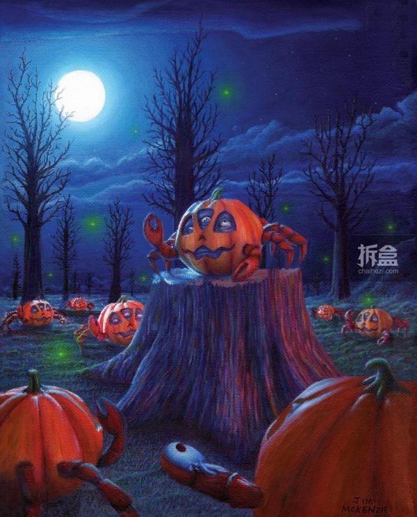 Pumpkin Crab Meet Up 南瓜螃蟹聚会 acrylic painting  $1,200 美元,丙烯画