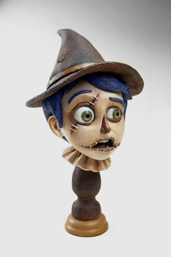 "The Scarecrow (Original Bust)稻草人胸像 Edition of 5 hand painted 限量5个,树脂材质,手工涂装 L6"" x W6'' x H11"" Resin Cast, Acrylic Paint $750美元,已售罄"