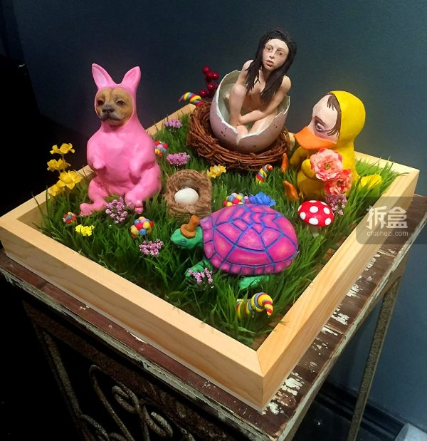 """Essence of Easter 复活节的精髓 L12"""" x W12""""  x H6""""  Sculpy Clay, Acrylic paint, Faux grass, Faux flowers $1,800美元,黏土材质"""