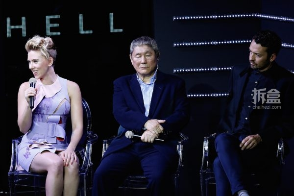 TOKYO, JAPAN - NOVEMBER 13: (from left) Scarlett Johansson, Takeshi Kitano, and Rupert Sanders appear on stage during the global trailer launch for Paramount Pictures' 'Ghost in the Shell' at the Tabloid on November 13, 2016 in Tokyo, Japan. (Photo by Tomohiro Ohsumi/Getty Images for Paramount Pictures) *** Local Caption *** Scarlett Johansson; Takeshi Kitano; Rupert Sanders